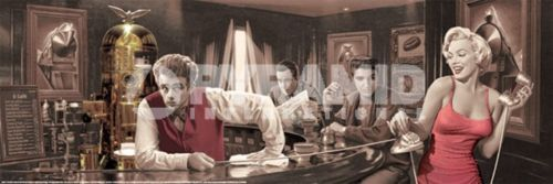 Poster marilyn monroe bogart elvis dean bancone bar slim 30 for Bancone bar inglese