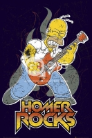 Poster Cartoons I Simpson Homer Rock con Chitarra
