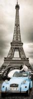 Poster Città Parigi Tour Eiffel 2 cavalli Bacio DOOR POSTER