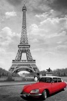 Poster Città Parigi Tour Eiffel 2 cavalli Bacio