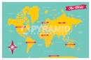 Poster Educativi e Scolastici Cartina Mappa del Mondo Bicolore