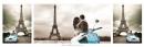 Poster Fotografico Parigi Tour Eiffel Auto e Vespa d' Epoca Baci