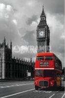 Poster Fotografico Londra Il Big Ben ed il Red Bus