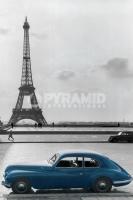 Poster Fotografico Parigi Tour Eiffel con Auto D'Epoca Blu Vinta