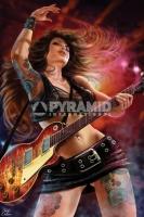 Poster Musica e Arte Rock Chick La Ragazza con la Chitarra di Cr