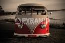 Poster Vintage Camper Pulmino Volkswagen Rosso Fronte Vintage
